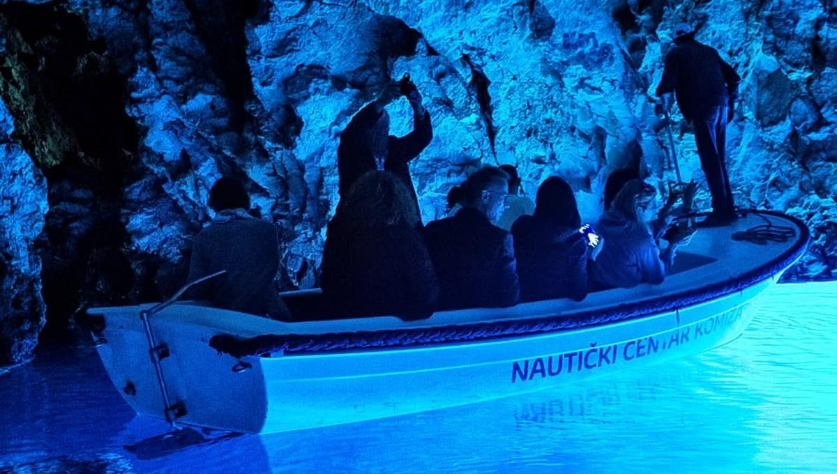 The small boat in the phenomenal Blue Cave